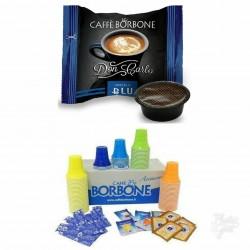 600 CAPSULE CAFFE' BORBONE DON CARLO BLU COMPATIBILI LAVAZZA A MODO MIO + KIT 600 ACCESSORI CAFFE' BORBONE.